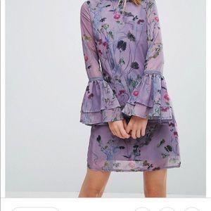 Little Mistress Purple Floral Dress w/ Bell Sleeve